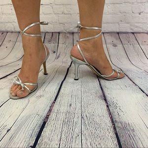 🆕Manolo Blahnik ankle wrap strappy bow heels 38/8